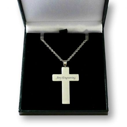 Engraved Cross on Chain Necklace